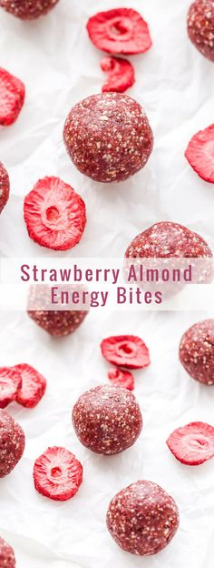 Hypoallergenic Pet Dog Food Items Diet Program Strawberry Almond Energy Bites Are Easy To Make And Great For A Pre Or Post Workout Snack. Gluten-Free, Paleo, Vegan And Full Of Strawberry Flavor Protein Bites, Energy Bites, Paleo Energy Balls, Paleo Vegan, Granola, Good Healthy Recipes, Snack Recipes, Powerballs Recipe, Strawberry Snacks