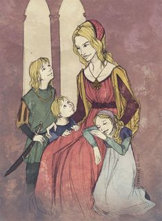 """Cersei's jewels by martinacecilia. Cersei Lannister, and Joffrey, Tommen, and Myrcella Baratheon. """"I will hurt you for this. I don't know how yet, but give me time. A day will come when you think yourself safe and happy, and suddenly your joy will turn to ashes in your mouth, and you'll know the debt is paid."""""""