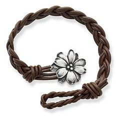 Dark Brown Woven Braided Leather Bracelet with Wildflower Clasp at James Avery
