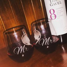 One Pair of Personalised Mr and Mrs Etched Wine Glasses by MadePryor on Etsy