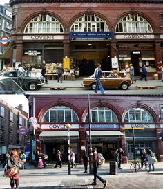 Covent Garden Tube station in 1973 and today Vintage London, Old London, North London, West London, London History, British History, London Life, London Street, Covent Garden Station
