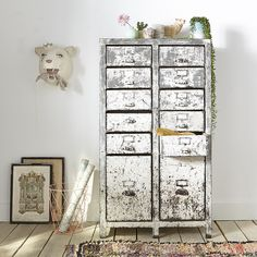 meuble à casiers tiroirs méatl industriel cabinet industrial workshop patine patina