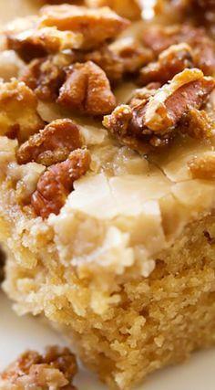 Caramel Praline Sheet Cake Making this as one of our Thanksgiving desserts :)