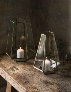 Prism Brass and Glass Lantern