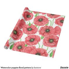 Watercolor poppies floral pattern wrapping paper by #katstore  | #S6GTP ~ Created by one of my friends at #Zazzle ~