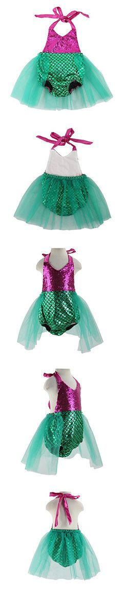 Baby Girls Mermaid Dress Costume Outfits Toddler Sequins Playsuits Jumpsuit Set