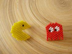 Broches Pacman et fantôme perles miyuki tissées