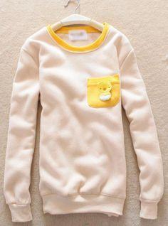 Beige Pocket Round Neck Sweatshirt$39.00