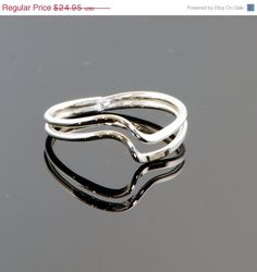 Double Wave Ring - Thumb Ring - Argentium Sterling Silver Ring - Handmade. $19.96, via Etsy.