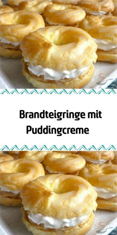 Choux pastry rings with pudding cream - Kuchen - Donut Recipes, Healthy Dessert Recipes, Appetizer Recipes, Cake Recipes, Snack Recipes, Pastry Recipes, Pudding Recipes, Pasta Choux, Choux Pastry