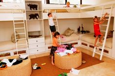 built-in bunk beds, via Flickr.  I like the corner unit with the table at the head
