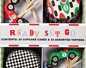 race car party cupcakes