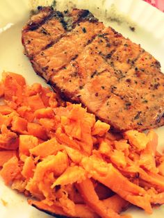 LEAN centre cut pork loin in a honey dijon sauce with a small amount of sweet potato 'fries'