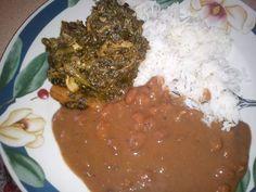 Diri (rice), sos pwa (bean sauce), and legume (greens). Haitian Food Legume, Haitian Food Recipes, Carribean Food, Caribbean Recipes, Hatian Food, Jai Faim, Louisiana Recipes, Creole Recipes, Island Food