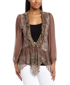 Another great find on #zulily! Ecru Floral Lace Linen-Blend Bolero - Women by Pretty Angel #zulilyfinds