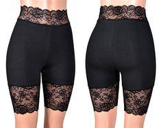 High-Waisted Black Stretch Lace Shorts plus size goth bike shorts XS S M L XL Punk Short Leggings Lace Trim High Waist cotton Plus Size Goth, Boxer, Dresser, Black Lace Shorts, Sexy Shorts, Women's Briefs, Gucci, Lingerie, Waist Cincher