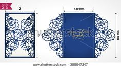 Laser cut wedding invitation template with roses. Vector floral die cut card mock up. Cutout paper card with rose flowers.