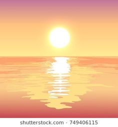 Sunset on the sea, vector landscape background. Vector Animation, Sea Illustration, Graphic Art, Graphic Design, Sunset Sea, Landscape Background, Mini Paintings, Vector Art, Paper Art