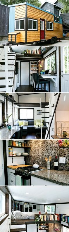 Note LR sofa convertible to Queen bed and under one loft, bright gloss ceilings, cool kit backsplash. Shannon Black used his construction experience to build himself a tiny house. The result was this beautifully designed house with high end finishes. Tiny House Plans, Tiny House On Wheels, Casa Loft, Tiny House Nation, Little Houses, Tiny Houses, Tiny House Movement, Tiny House Living, Tiny House Closet