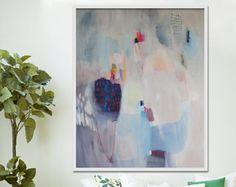 """gran impresión abstracta, Giclée impresión de pintura blanca, azul, rosa, moderno impresión """"Tomasa"""""""