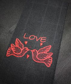 Love is in the air kitchen towel by SkidzWifeCreations on Etsy, $7.00