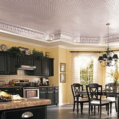 Kitchen decor, Kitchen designs, Kitchen decorating ideas - Black cabinets! Sweet ceiling