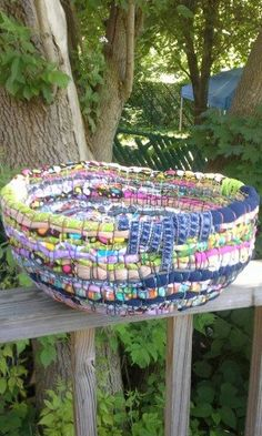 A cute bowl/baskets out of fabric scraps, old stained/holey/outgrown clothes, ribbons and embroidery floss