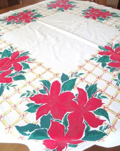 Vintage Christmas Tablecloth  Mid Century by AStringorTwo on Etsy, $18.00