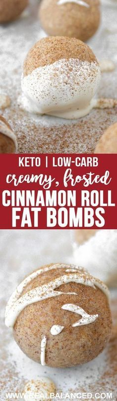 These Cinnamon Roll Fat Bombs are a perfect keto-friendly dessert to curb your sweet tooth! These fat bombs are low-carb keto gluten-free grain-free vegetarian refined-sugar-free and only net carbs! Desserts Keto, Keto Friendly Desserts, Keto Snacks, Health Desserts, Dessert Recipes, Ketogenic Diet, Ketogenic Recipes, Low Carb Recipes, Free Recipes