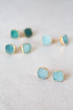 Lovoda - Flat Square Teal Druzy Earrings, $15.00 (http://www.lovoda.com/flat-square-teal-druzy-earrings/)