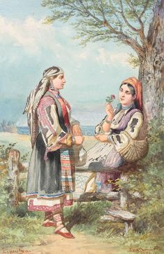 Carol Popp de Szathmary, Good friends (Allegory for the relation between Valahia -Romania- and Bulgaria) Chinese Art, Traditional Outfits, Romania, Auction, Costume, Friends, Drawings, Painting, 1 Decembrie