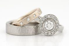 Palladium, Rose Gold, Diamonds http://www.johnpauldesigns.com/