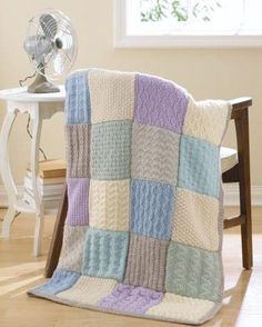 Knitting Pattern for Easy Textured Sampler Throw - One of 29 projects in Easy Textured Knits ebook from Leisure Arts. Knitting Squares, Beginner Knitting Patterns, Loom Knitting, Baby Knitting, Free Knitting, Patchwork Blanket, Patchwork Baby, Crochet Blanket Patterns, Baby Blanket Crochet