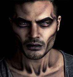 maquillage halloween homme facile demon-noir-et-blanc