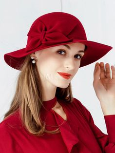 694b2e5d2c5 Plain red floppy hat with bow for women winter warm wool felt hats