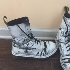 Dr. Martens Shoes - Black doc martens. Spray painted white