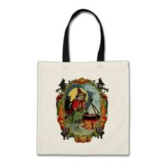 Old-fashioned Halloween Witch with Black cat Tote Bag - cat cats kitten kitty pet love pussy