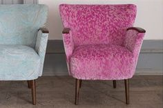 The Wedge Chair from Designers Guild giving a distinct nod to the 50s with it great shape and wonderful tapered dark wood capped arms. Shown here in delicious Torlonia Peony and Aurelia duck egg to the left. www.designersguild.com