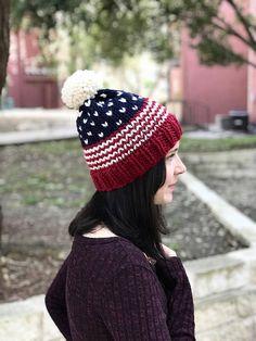 685c13229ca Patriotic Beanie KNITTING PATTERN - American Flag Hat Pattern - Fair Isle  Knit Beanie Pattern - Pom Pom Ski Hat Pattern - USA beanie pattern