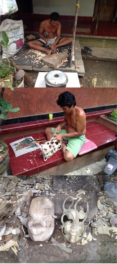 Making a mask from Hibiscus wood. Fair Trade trip to Indonesia