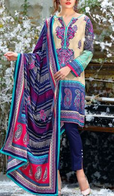 Buy Skin/Blue Embroidered Linen Salwar Kameez by LSM 2015Call: (702) 751-3523 Email: Info@PakRobe.com www.pakrobe.com #WINTER_SALWAR_KAMEEZ https://www.pakrobe.com/Women/Clothing/Buy-Winter-Salwar-Kameez-Online