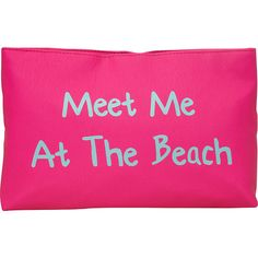 T-shirt & Jeans Meet Me At The Beach Cosmetic Bag ($24) ❤ liked on Polyvore featuring beauty products, beauty accessories, bags & cases, ladies purse accessories, ladies wallets, pink, makeup purse, travel bag, dop kit and travel kit