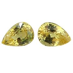 0.65 ct Pair of Pear Shape Yellow Sapphires Lemon Yellow -Gold Crane & Co.