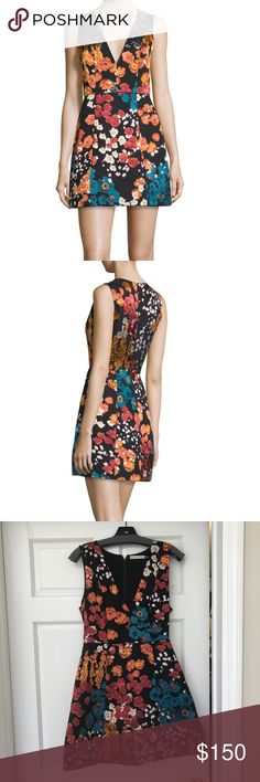 Alice + Olivia Patty Floral Print Slvls Mini Dress Like new/perfect condition.  Beautiful dress purchased at Saks Fifth Avenue 9 months ago.  Paid full retail $395.  Plunging V Neckline; darted bust; Sean across high waist; A-line lantern skirt; back zip with hook closure; side slip pockets.  Size 8 - runs slightly small and is very fitted on top.  The dress could be lengthened as there is a substantial amount of fabric folded under the skirt hem.  Viscose and silk - incredibly beautiful and…