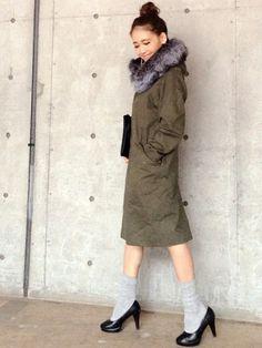 Yukie♡iさんのモッズコート「ADAM ET ROPE' フォックスボリュームファー 6WAY モッズコート」を使ったコーディネート