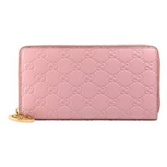 Gucci Gucci Icon Gucci Signature Wallet ($575) ❤ liked on Polyvore featuring bags, wallets, accessories, light pink, women, leather wallets, gucci wallet, 100 leather wallet, real leather wallets and leather zip around wallet