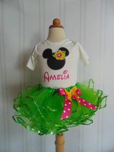 Minnie Mouse Light Green 3 piece Outfit Minnie Themed Luau