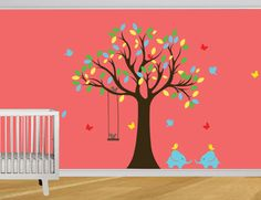 Kids wall decal Modern cute baby room Tree wall by DIYVinylDesigns, $109.00  THEY HAVE 20% OFF FOR THE 4TH! CODE SAVE20