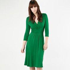 Green pleated jersey dress.