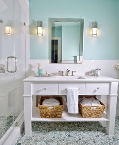 White vanity in girl's bathroom with pebble tile floor Spa Like Bathroom, Bathroom Sconces, Bathroom Vanity Cabinets, Bathroom Flooring, Small Bathroom, Master Bathroom, Feminine Bathroom, Neutral Bathroom, Bathroom Vanities